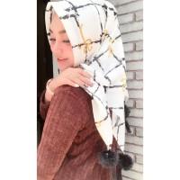 Jilbab S4 Instan Pompom ,Hijab Square Laser Cut, Kerudung Segi Empat,
