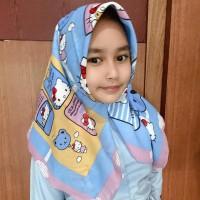 Jilbab Anak Motif Lucu Segiempat, Motif Printing Hijab Voal Lasercut