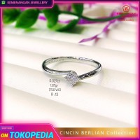 Cincin Berlian Emas Putih Solitaire Crown Setting 0.020 Series 1