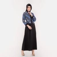 Dress Muslim - FBW Najwa Cape Layer Batik Gamis Dress Parang - Navy
