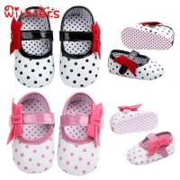 Motif Polkadot Sepatu Princess Kulit PU Bayi Perempuan Anti Slip