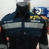 Kemeja Panjang Pria Bordir Alat Berat Excavator Dozer Greder Seragam -