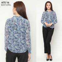Kemeja wanita-Popover Blue Floral Shirt [ ATS 16]