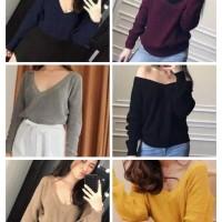 sabrina knit rajut korea atasan blouse baju sweater polos elegan
