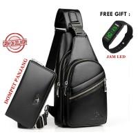 tas selempang pria bahan kulit free dompet+jam atau hedshet
