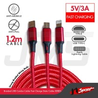JMSport Kabel USB 3In1 Micro+Lightning+Type-C Fast Charge 5V/3A 1.2M