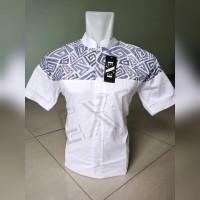 Kemeja / Baju Koko Muslim Pria eXe - Putih Kombinasi Batik