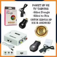 PAKET ANYCAST DONGLE + HDMI TO AV ALAT KONVERTER DARI HP KE TV TABUNG