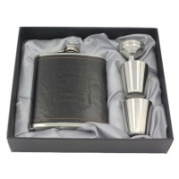 Botol Bir Hip Flask Stainless Steel Leather dengan Shot Glass 7Oz