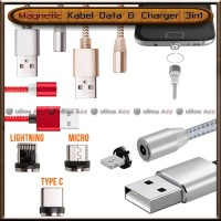 Kabel Data Charger Magnet 3in1 Magnetic Micro USB Lightning Type-C HP