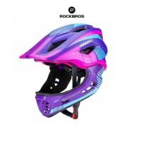 ROCKBROS TT-32 Full Covered Child 2 in 1 Helmet- Helm Anak - PURPLE