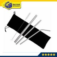 Sedotan Stainless Steel Sikat Sarung Set -3 Sedotan + 1 Sikat + Pouch