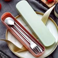 Sendok makan Set Stainless steel / sendok / garpu / alat makan set - Biru Muda