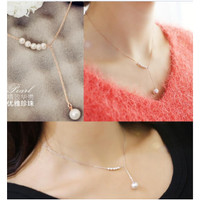 Kalung Rantai Wanita C14 Mutiara Korea Fashion Women Pearl Necklace Al