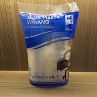 Gelas Plastik 14Oz isi 50 Pcs Merk Wayang Kuat Panas & Dingin Higienis