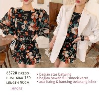 Smock Dress/Mini Dress Tangan Panjang Motif Bunga Import/Pm 6572