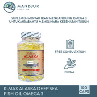 K-max Alaska Deep Sea Fish Liver Oil Omega 3 Tutup Putih Isi 100