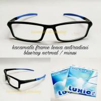 Kacamata frame sporty anti radiasi komputer dan hp normal/minus
