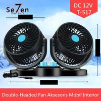 Kipas Angin Mobil Double-Headed Fan Aksesoris Mobil Interior T517-T518 - Biru