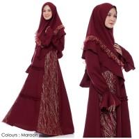 Setelan Muslim | Ghania Syari Maroon | Gamis Khimar Pesta Brukat -