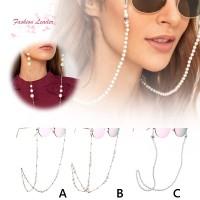 Wanita FL Rantai Kacamata Hias Mutiara Imitasi untuk
