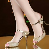 High Heels Gliter Emas Lj 05 - Emas 36