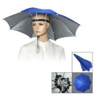 Topi Payung Tangan Bebas Tali Kepala Elastis Bingkai Besi Nilon