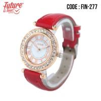 FIN-277 Jam tangan fashion wanita analog - leather strap - 8 pilihan