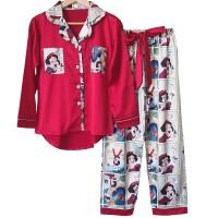 piyama anak▤Ladies pajamas pure silk Snow White bright red lovely