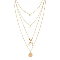 Retro Women Gold Layered Necklaces Personalized Girl Simple Style