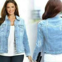 jaket wanita jeans jumbo vita big size - Biru, Oversize BERMUTU
