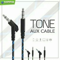 kabel AUX merk Hippo warna doreng 3,5mm kabel audio AUX male to male