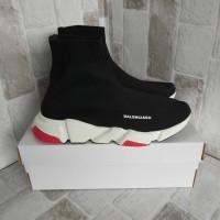 sale sepatu slip on balenciaga top speed Trainer black white red