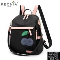Peonia Tas Ransel Wanita Import Kantor Sekolah Korea CHERRY POM BAG