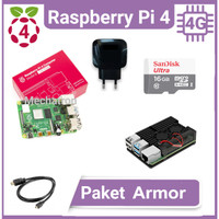 Raspberry Pi 4 model B 4GB Paket Armor Siap Pakai Made in UK Pi4 Pi4B - tanpa micro sd