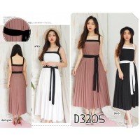 D3205 DRESS PLISKET PRISKET TANPA LENGAN MAXY PESTA PARTY