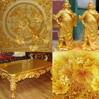 LEM GLUE kertas emas gold leaf foil sheet prada sepuhan sepuh kimpo