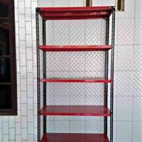 Rak gudang besi Murah Uk.P 100 L 40cm T 2meter 5 susun + kaki karet