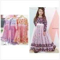 Gamis anak BRONSY fancy flower long dress - Ukuran 7-8thn, Dark Navy