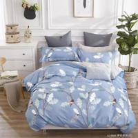 Sprei katun jepang motif daun putih biru 180x200x30 cm