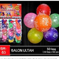 Balon Ultah papan isi 100pcs motif Bintang/HBD/Love/Laugh/Smile