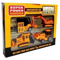 Mainan Excavator Bulldozer Beko Grader Die Cast Metal Construction F4