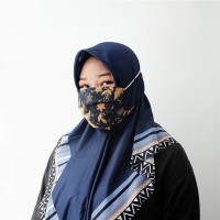 Masker Batik Hijab Water Repellent/ Anti Microbial 3 Ply