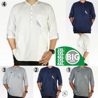 Baju Koko Pria Muslim Big Size Gamis Kemko Panjang Chiangi XXL XXXL - Putih, 4XL