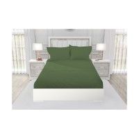 SPREI QUEEN CALIFORNIA POLOS EMBOSS FITTED 160X200 GREEN ARMY