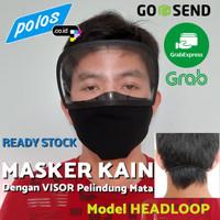 Masker Kain Hijab / Headloop dengan Visor Pelindung Mata - Ready Stock