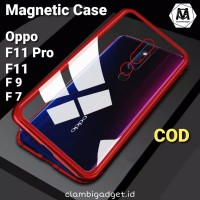 Case Oppo F11 Pro F9 F7 Magnetic Glass Magnetik Magnet Metal Casing