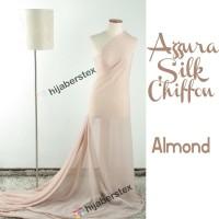 HijabersTex 1/2 Meter Kain AZZURA SILK CHIFON Almond