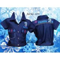 Kemeja anak perempuan Sz 9-12 bordir frozen