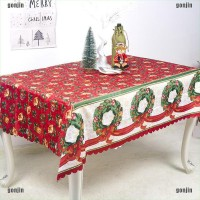 Christmas Tablecloth Cotton Dust-proof Table Cover Xmas Table Cloth